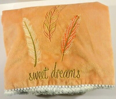 Levtex Sweet Dreams Feather Peach White Sherpa Baby Lovey Security Blanket 30X40