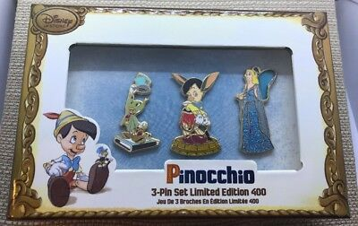 Disney Store Pinocchio Limited Edition Pin Set LE 400- Brand New In Box