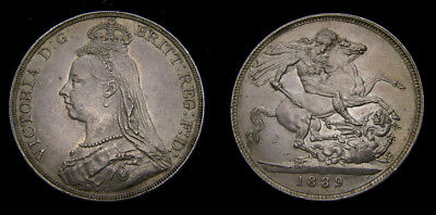 1889 Great Britain Silver Crown Rare This Nice S-3921 AU+ 6291