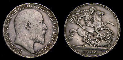 1902 Great Britain AR Crown .8409 One Year Type Mintage 256,000 KM#903 F/VF 6292