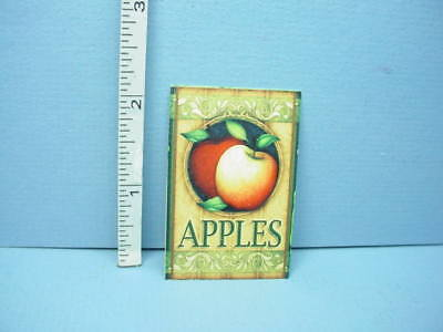 """Miniature """"Apples"""" Sign #208 Machine Painted Metal 1/12th Scale"""