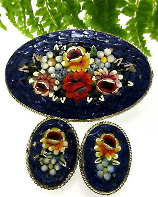 Lovely Old Italian Mosaic Pin And Earring Set