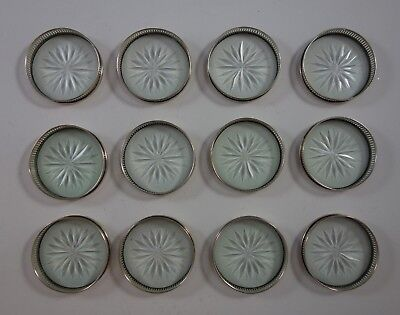 Old French by Gorham Sterling Silver Coaster Set of 12 with Cut Crystal (#2374)
