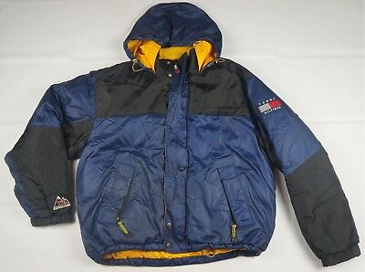 2386cb8d Rare VTG TOMMY HILFIGER Outdoors Expedition Spell Out Flag Puffer Jacket  90s L