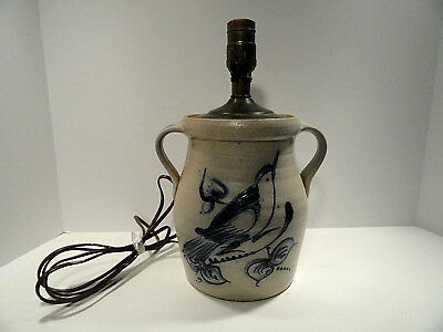Rowe Pottery Salt Glaze Crock Lamp 1990