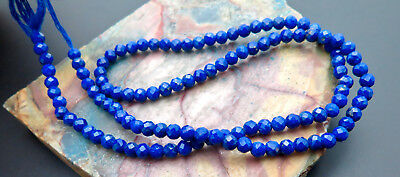 """BEAUTIFUL ROYAL BLUE UNTREATED LAPIS 3-3.2mm BEADS 12.70"""" STRAND PETITE FACETED"""