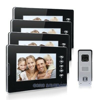 """Wired 7"""" TFT Video Door Phone Home Entry System Doorbell Night Vision 4 Monitors"""