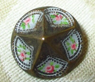 ANTIQUE BUTTON - GORGEOUS 19th C. DIMENSIONAL STAR w HAND PAINTED FLOWER BORDER