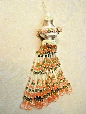 "Victorian Style Ornament Elaborate Tassel Beaded Ribboned 7 1/2"" Pink Green"
