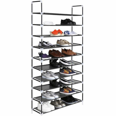 New 50 Pair 10 Tier Shoe Rack Tower Organizer Space Saving Storage Free Standing