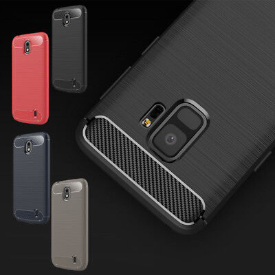 Luxury Carbon Fiber Soft TPU Silicone Thin Case Cover for Samsung S9 A8 Plus
