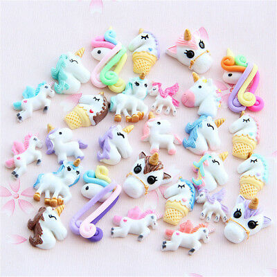 10pcs Mixed unicorn flatback resin cabochon for Diy phone deco scrapbooking SEAU