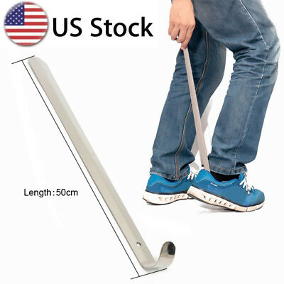 20'' Extra Long Handle Shoe Horn Stainless Steel Handled Metal Shoehorn Horns US