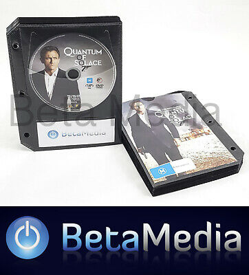 200 x Black DVD Sleeves - holds discs and Movie or Game cover with Binder holes
