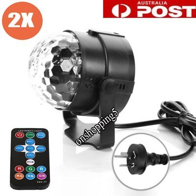 AU RGB LED remote Disco Home Party Crystal Magic Ball Stage Effect Light Lamp Q&