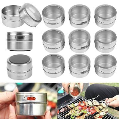 12X Magnetic BBQ Spice Tin Stainless Steel Storage Container Jar Clear Lid Set