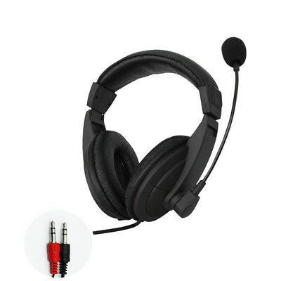 Black 3.5mm Headset Headphones w/ Microphone Mic for Computer PC Gaming Stereo