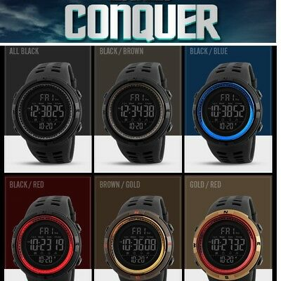 SKMEI Mens 1251 6 color LED Military Style Army Walking Sports Waterproof Watch