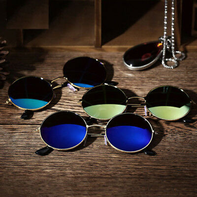 Fashion Mens Womens Round Vintage Retro Cyber Goggles Steampunk Sunglasses Lens