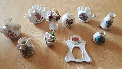 Collection Of 10 Antique Small Crested China Ware Stamped Collectable Various