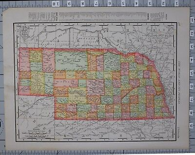1906 Map United States Nebraska York Beatrice Omaha Lincoln Fremont Norfolk