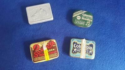 N4: 4 Assorted Gramophone Needle Tins: Songster, 2 Columbia & HMV