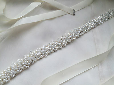 LUCIA Bridal Sash Pearl Pearls Wedding Dress Sash Bridal Belt Ivory White