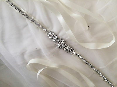 ANA Bridal Sash, Rhinestone, Wedding Dress Sash, Bridal Belt, Diamante Ivory