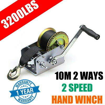 3200LBS Hand Winch Synthetic Strap 2-Speed Manual Car Boat Trailer 4WD