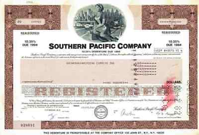 Southern Pacific Company Debenture 1982 San Francisco San Diego New Orleans 100