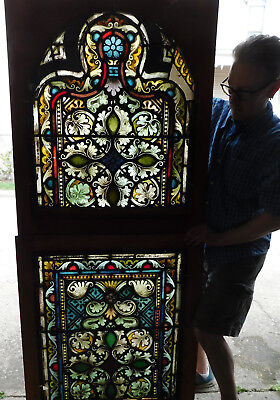 Pair Victorian Gothic Painted Glass Stained Art Windows AS IS 5ft tall Arched