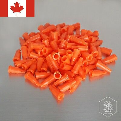 100Pcs Luer Lock Syringe Tip Caps Red Orange PET