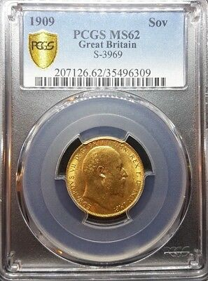 1909 Edward Vii Gold Full Sovereign Coin Pcgs-Ms62