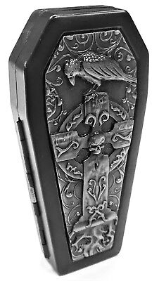 Black Crushproof Biker Metal Bird Celtic Cross Coffin Cigarette Case, Kings 100s