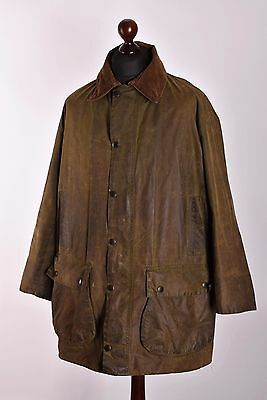 Men's Barbour Border Green Waxed Jacket Size C44 / 112cm Genuine Casual