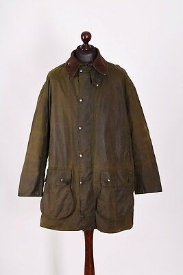 Men's Barbour Border Vintage Waxed Jacket Size C44 / 112cm Genuine  #