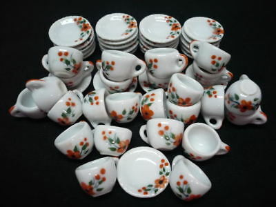 50 Coffee Cup Scalloped Painted Orange Orchid Dollhouse Miniatures Kitchenware