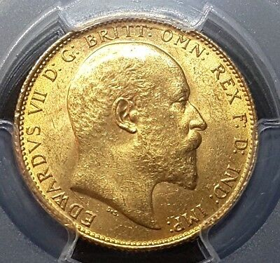 1910-S Edward Vii Gold Full Sovereign Coin Pcgs-Ms63+