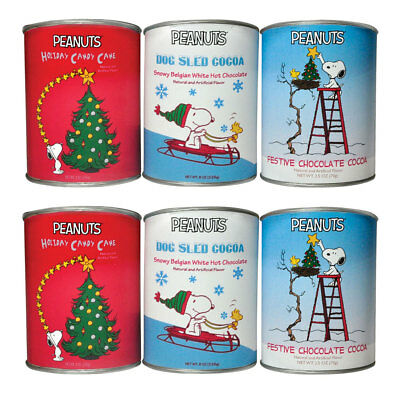 NEW (Set/6) Peanuts Christmas Cocoa - Great Flavors In 2.5 Ounce Metal Gift Cans