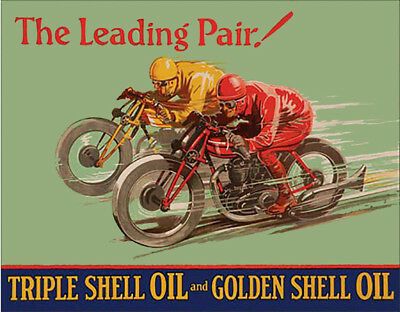 Shell The Leading Pair Triple Shell Oil & Golden Shell Oil Vintage Ad Metal Sign