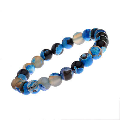8mm Natural Stone Blue Beads Women Men's Bracelets Charm Jewelry Birthday Gift