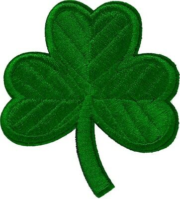 IRISH GREEN CLOVER Embroidered PATCH LUCKY SHAMROCK Iron-on