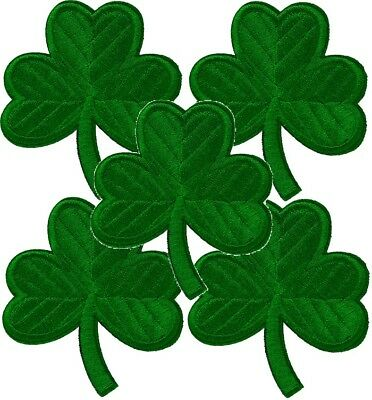 LUCKY SHAMROCK 5 IRISH GREEN CLOVER Embroidered PATCH Iron-on