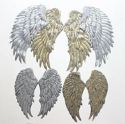 Pair Large Angel Fairy Sequin Wings Gold or Silver Applique Iron On Festival
