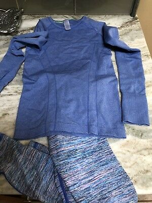 Ivivva By Lululemon Girls Size 8 2 Piece Outfit Set Long Sleeves Top Leggings