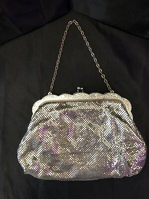 Whiting And Davis Mesh Evening Purse Silver Metalic Toned