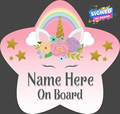 Unicorn Personalised Star Shaped Baby On Board Car Sign Rainbow Unicorn