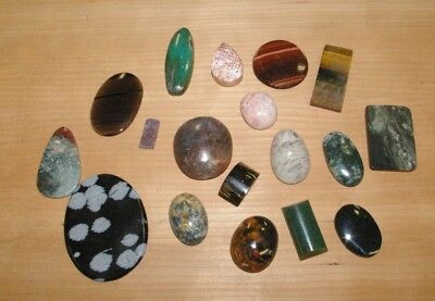 Collection of 15 Cabochons Various gemstones Agate Jade Lapidary Jewelry making