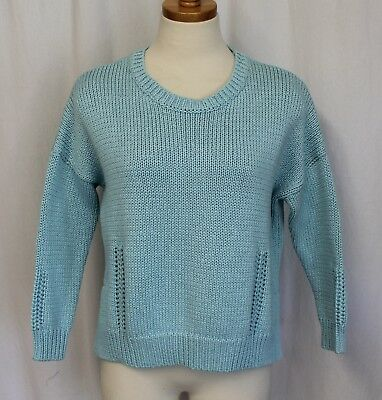 Demylee J Crew Giselle Cropped Sweater 280 Large Light Blue B1294
