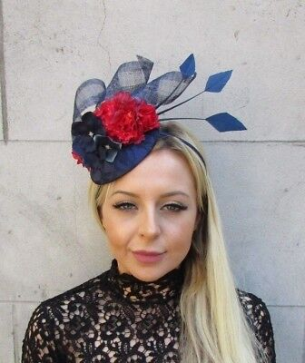 Navy Blue Red Rose Flower Feather Pillbox Hat Hair Fascinator Races Wedding 5785